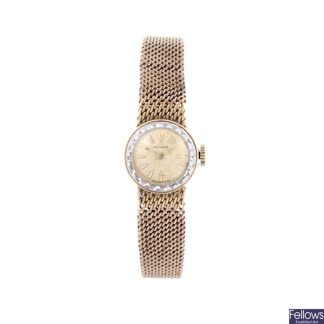 MOVADO - a lady's 9ct yellow gold bracelet watch.
