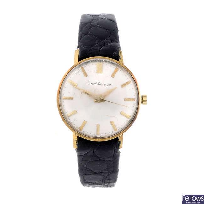 GIRARD-PERREGAUX - a lady's 18ct yellow gold wrist watch with a Seiko wrist watch.