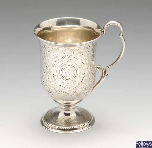 A mid-Victorian silver christening cup.