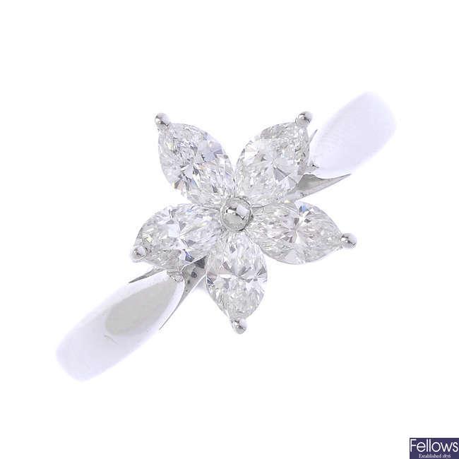 An 18ct gold diamond flower ring.