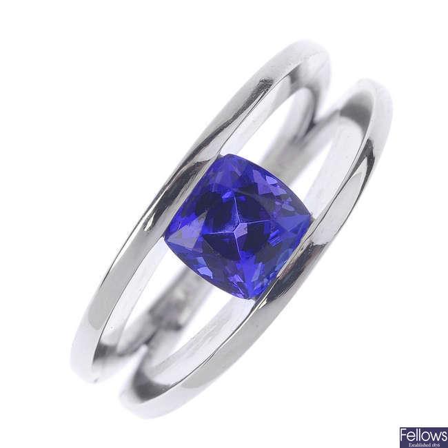 A tanzanite single-stone ring.