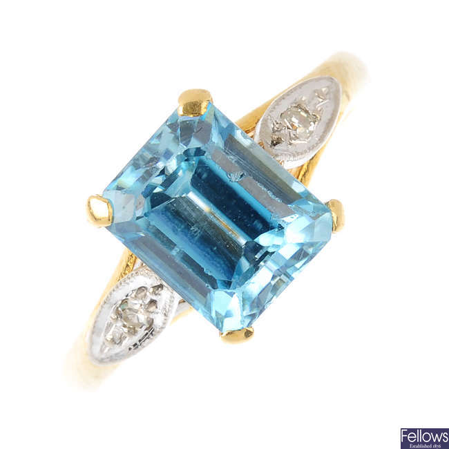 An 18ct gold blue zircon and diamond ring.