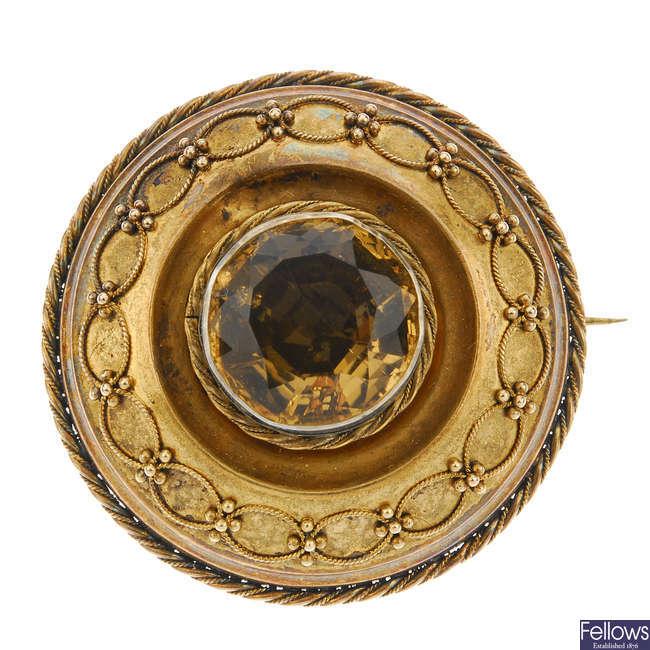 A late 19th century citrine memorial brooch.