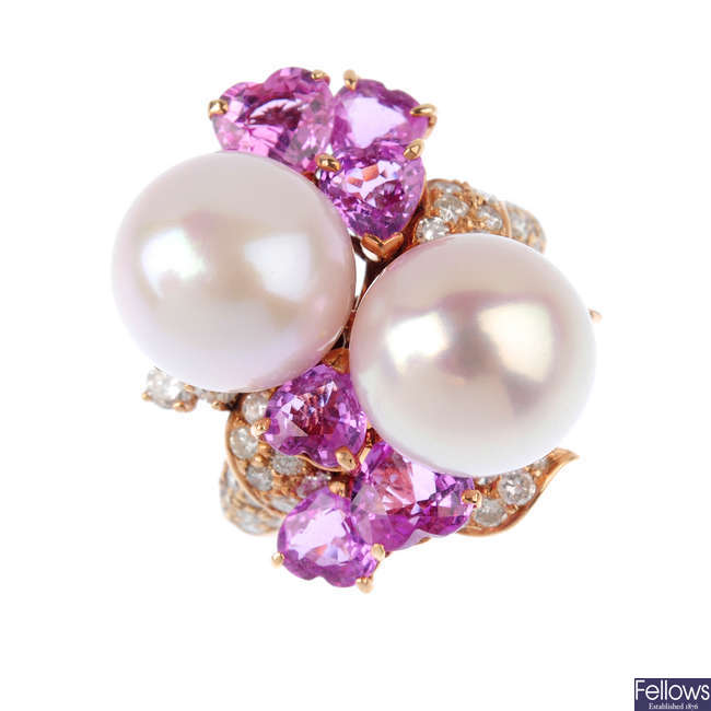 A South Sea Cultured pearl, diamond and sapphire dress ring.