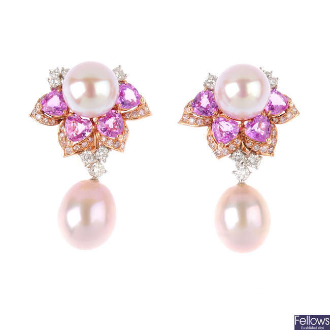 A pair of cultured pearl, diamond and sapphire floral earrings.