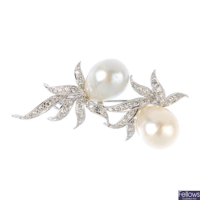 A South Sea cultured pearl and diamond brooch.