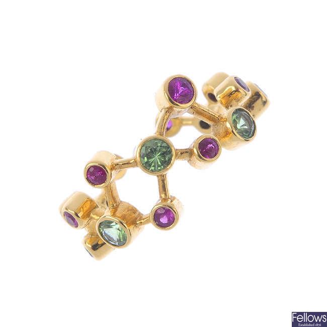 An 18ct gold ruby and tsavorite garnet dress ring.