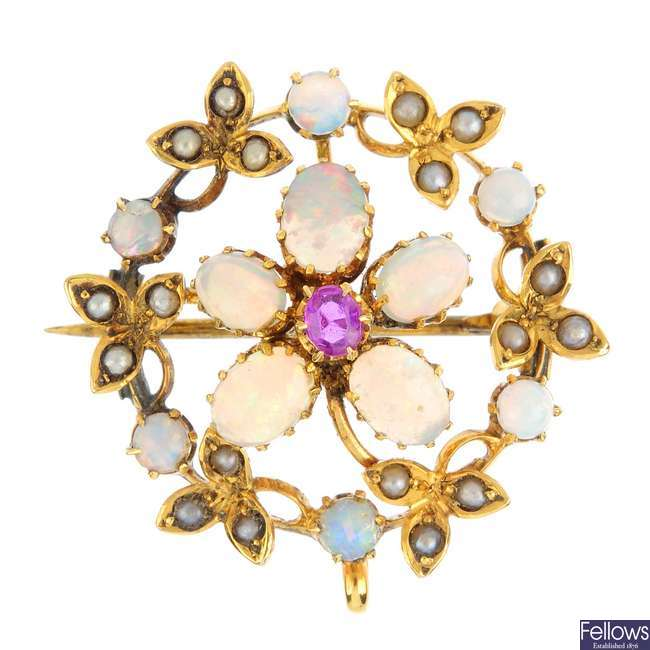 An Edwardian 9ct gold opal, ruby and split pearl brooch.