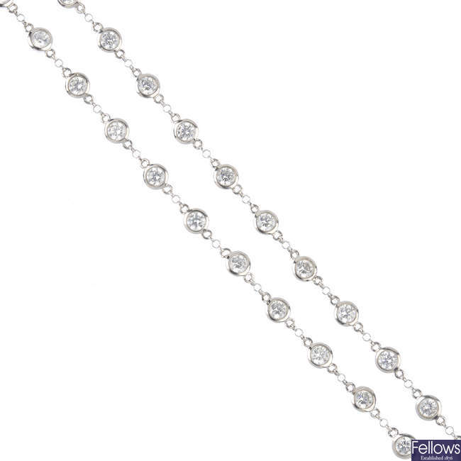 A 14ct gold cubic zirconia necklace.