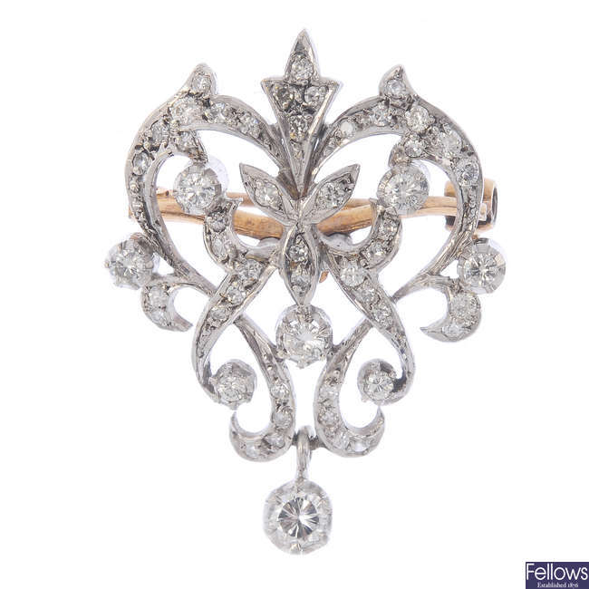 A diamond brooch.