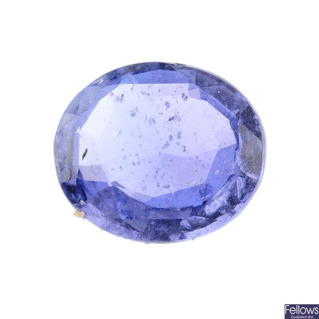 An oval-shape sapphire, weighing 1.79cts.