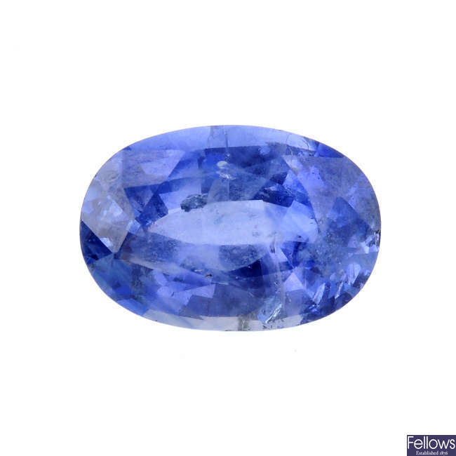 An oval-shape sapphire, weighing 1.83cts.