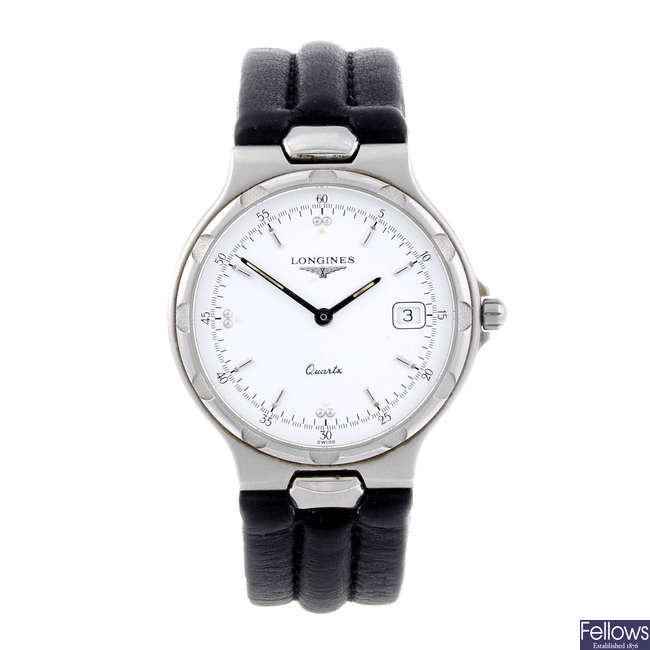 LONGINES - a gentleman's stainless steel Conquest wrist watch.