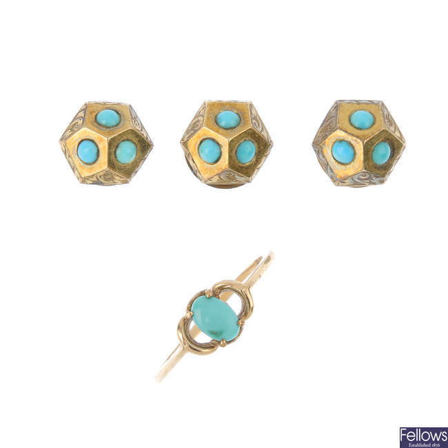 A set of late Victorian dress studs, an early 20th century bracelet and a turquoise ring.