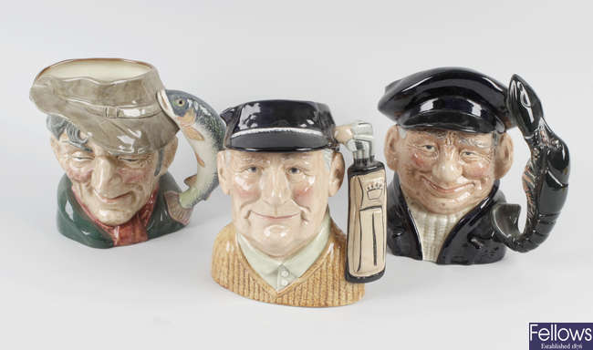 A collection of Royal Doulton sporting-themed character jugs.