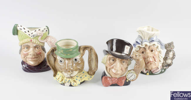 Four Royal Doulton Alice in Wonderland character jugs, 6598, 6776, 6599, 6842.