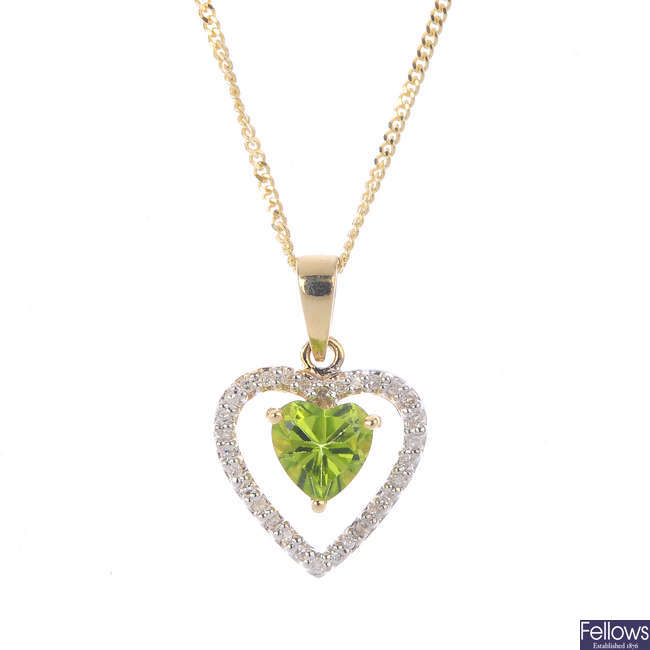 A 9ct gold peridot and diamond pendant, with 9ct gold chain.
