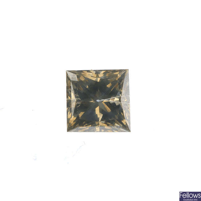 A square-shape 'brown' diamond, weighing 2.17cts,