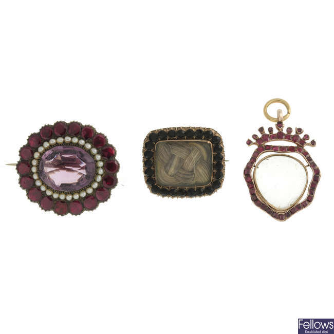 Three early to mid Victorian brooches.
