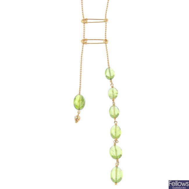 A peridot necklace.