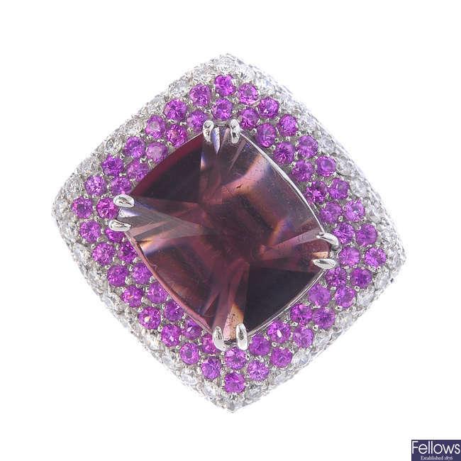 A tourmaline, sapphire and diamond dress ring.