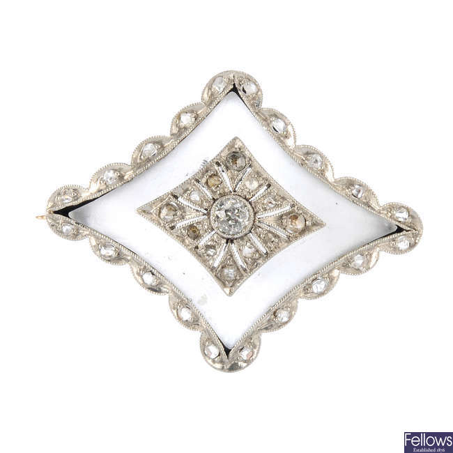 An early 20th century diamond and rock crystal brooch.