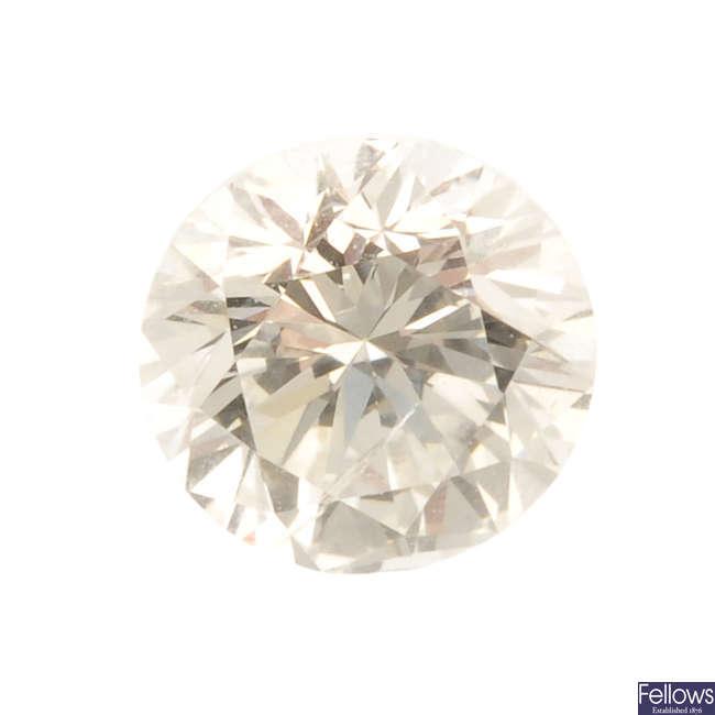 A brilliant-cut diamond, weighing 0.58ct.
