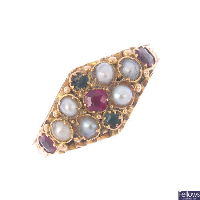 Two mid Victorian 15ct gold gem-set rings.