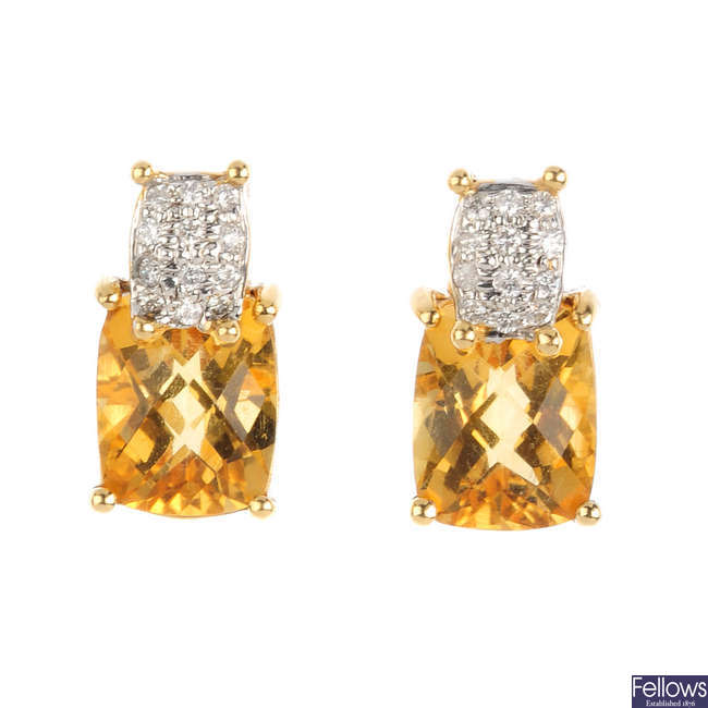 A pair of 18ct gold citrine and diamond earrings.