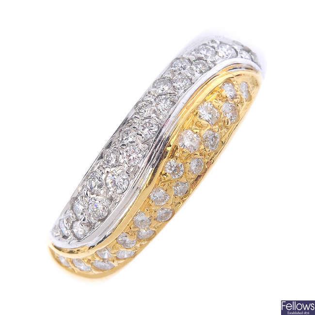 An 18ct gold diamond 'Yin and Yang' ring.