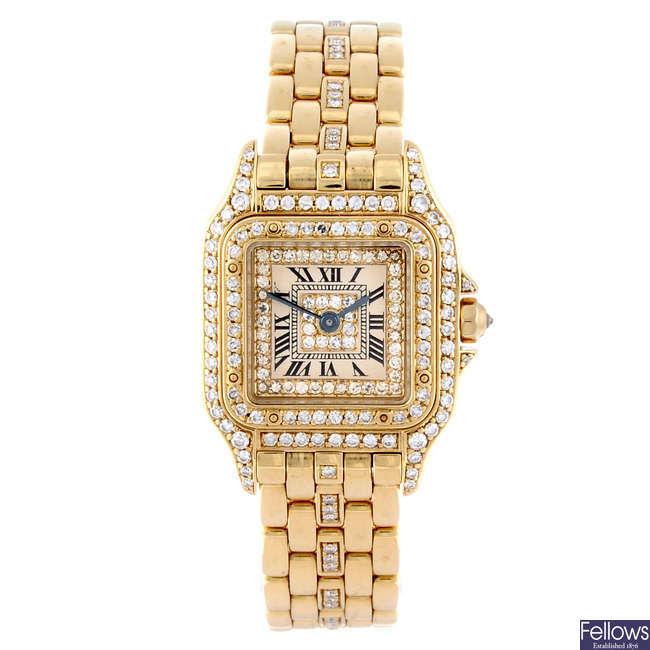 CARTIER - an diamond set 18ct yellow gold Panthere bracelet watch.