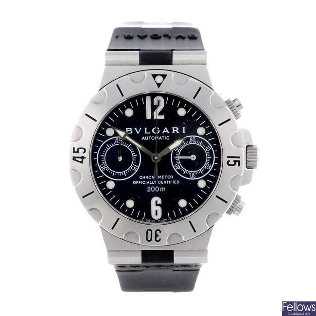 BULGARI - a gentleman's stainless steel Diagono Scuba chronograph wrist watch.