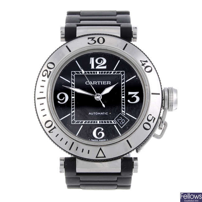 CARTIER - a stainless steel Pasha Seatimer bracelet watch.