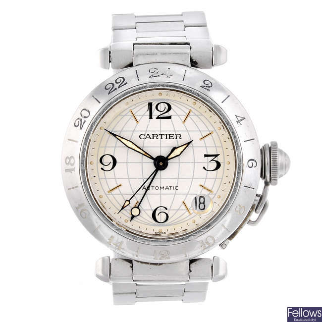 CARTIER - a stainless steel Pasha GMT bracelet watch.