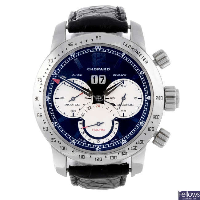 CHOPARD - a limited edition gentleman's stainless steel Mille Miglia Jacky Ickx chronograph wrist watch.