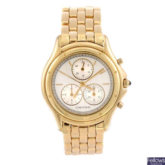 CARTIER - an 18ct yellow gold Cougar Chronoflex bracelet watch.