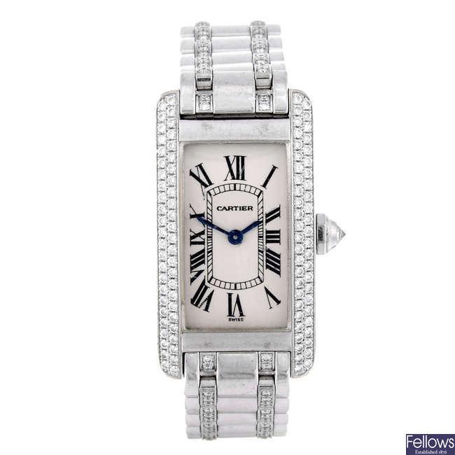 CARTIER - an 18ct white gold Tank Americaine bracelet watch.