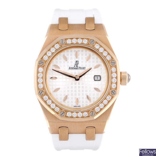 AUDEMARS PIGUET - a lady's 18ct rose gold Royal Oak wrist watch.