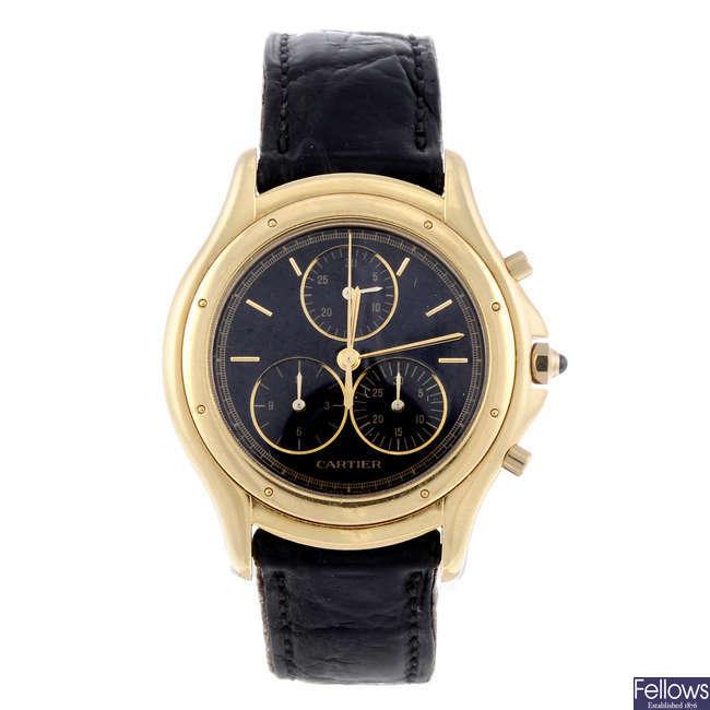 CARTIER - an 18ct yellow gold Cougar Chronoflex wrist watch.