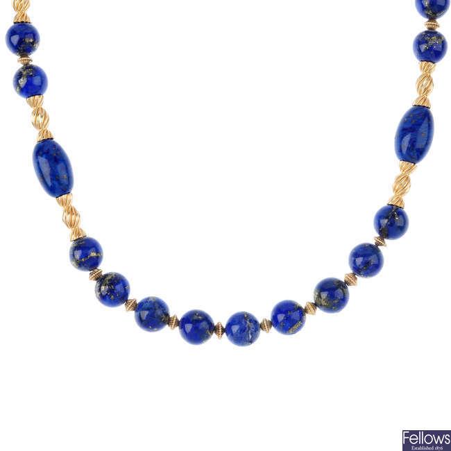 A  lapis lazuli necklace.