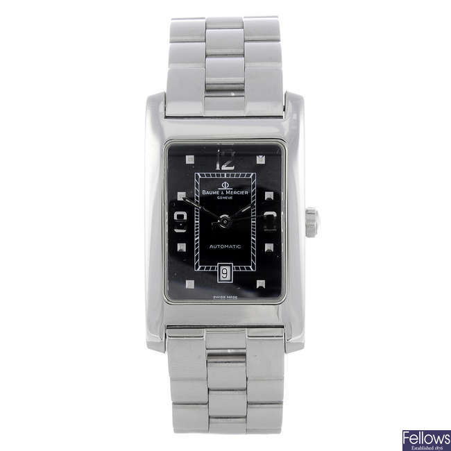BAUME & MERCIER - a mid-size stainless steel Hampton Classic bracelet watch.