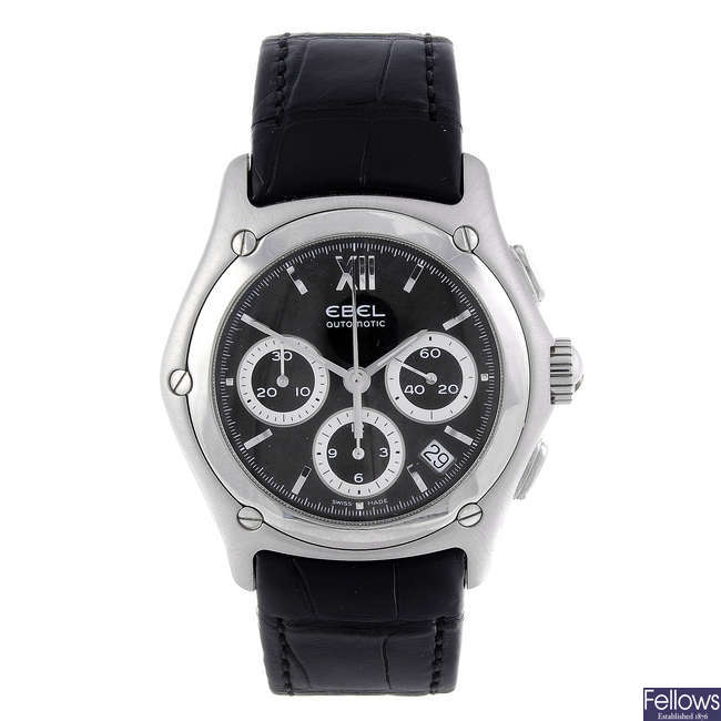 EBEL - a gentleman's stainless steel Classic Wave chronograph wrist watch.