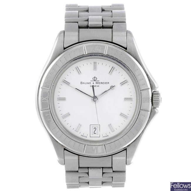 BAUME & MERCIER - a gentleman's stainless steel Riviera bracelet watch.
