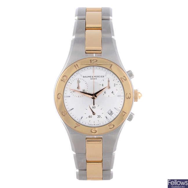 BAUME & MERCIER - a lady's bi-metal Linea chronograph bracelet watch.