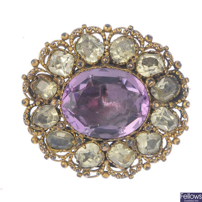 A mid Victorian 9ct gold foil-back amethyst cluster brooch.