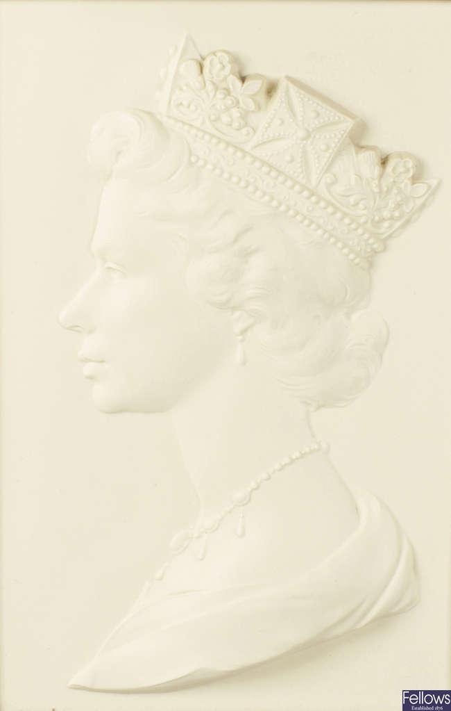 A Royal Worcester limited edition Queen Elizabeth plaque.