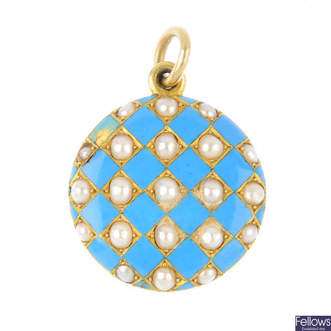 A late Victorian gold, enamel and split pearl mourning pendant, circa 1880.