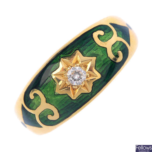 An 18ct gold diamond and enamel dress ring.