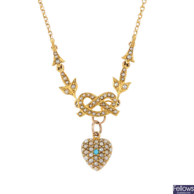A composite early 20th century gold turquoise and seed pearl necklace.