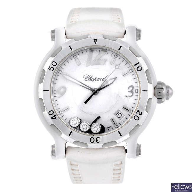 CHOPARD - a limited edition lady's bi-material Happy Sport wrist watch.